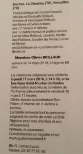 Avis décès Olivier Brillaud